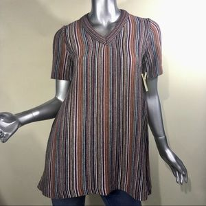 Great Times Vintage Striped Shirt Knit Tunic Top